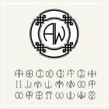 línea logotipo del arte en Art Nouveau Style Fotos de archivo