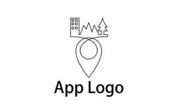 Línea logotipo del Pin Fotos de archivo libres de regalías
