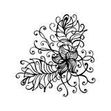 Línea mágica dibujada mano elemento del esquema del garabato del arte con el ornamento floral Bosquejo para el cartel, páginas ad Imágenes de archivo libres de regalías