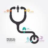 Línea médica del diagrama del estetoscopio del diseño del vector de Infographics Foto de archivo