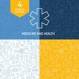 Línea médica fina Art Health Care Patterns Set Fotografía de archivo libre de regalías