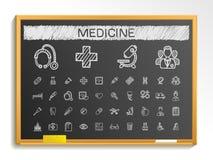 Línea médica iconos del dibujo de la mano ejemplo de la muestra del bosquejo de la tiza en la pizarra libre illustration