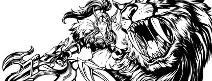 Línea móvil arte de las leyendas de Irithel ilustración del vector