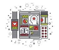Línea móvil ejemplo de control de salud del estilo stock de ilustración