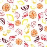 Línea a mano modelo inconsútil del bosquejo de la comida de los iconos en el fondo blanco Foto de archivo