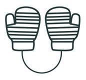 Línea manoplas del icono Equipo de deportes Ropa del invierno Fotografía de archivo libre de regalías
