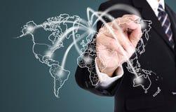 Línea mapa de la red de la escritura del hombre de negocios del negocio Imágenes de archivo libres de regalías