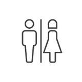 Línea masculina y femenina icono del retrete
