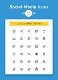Línea medios sistema minúsculo social del vector del icono libre illustration