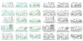 Línea mini paisajes de la naturaleza del icono con las montañas, los campos y los ríos Color del esquema y concepto negro de la n stock de ilustración