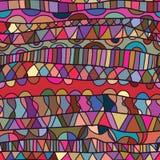 Línea modelo inconsútil colorido del dibujo horizontal Imágenes de archivo libres de regalías