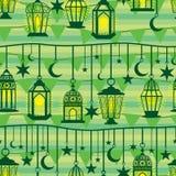 Línea modelo inconsútil de la caída de la linterna del Ramadán de la bandera libre illustration