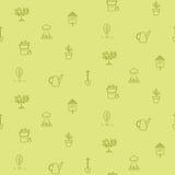 Línea modelo inconsútil de la horticultura del vector de los iconos Fotografía de archivo libre de regalías