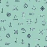 Línea modelo inconsútil de la nave y de mar de los iconos en fondo azul stock de ilustración