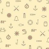 Línea modelo inconsútil de la nave y de mar de los iconos en fondo beige libre illustration