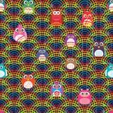 Línea modelo inconsútil del arco iris de la media cerca del búho Fotos de archivo libres de regalías