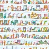 Línea modelo inconsútil del paseo del pájaro de la nota de la música ilustración del vector