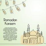 Línea moderna arte del kareem del Ramadán que dibuja la una línea continua plantilla minimalista del diseño para la comunidad mus ilustración del vector