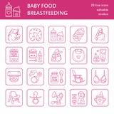 Línea moderna icono de amamantamiento, comida infantil del vector del bebé Elementos del cuarto de niños - la bomba de lactancia, Imagen de archivo
