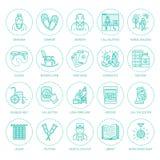 Línea moderna icono del vector de cuidado mayor y mayor Elementos de la clínica de reposo - personas mayores, silla de ruedas, oc