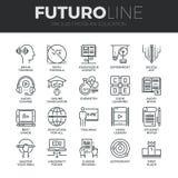 Línea moderna iconos de Futuro de la educación fijados Fotos de archivo libres de regalías