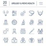 Línea moderna iconos del vector de urología Elementos - urólogo, vejiga, urología oncological, riñones, glándula suprarrenal ilustración del vector