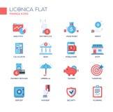Línea moderna iconos planos del diseño, pictogramas de la oficina y de negocio fijados Fotos de archivo libres de regalías