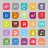 Línea necesaria que acampa iconos planos stock de ilustración