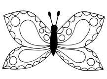 Línea negra abstracta mariposa para el libro de colorear, tatuaje Imagen de archivo