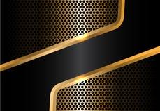 Línea negra abstracta vector de lujo moderno del oro de la malla del círculo Fotografía de archivo libre de regalías