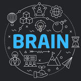 Línea negra cerebro plano del ejemplo del círculo stock de ilustración
