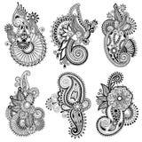 Línea negra colección adornada del diseño floral del arte, libre illustration