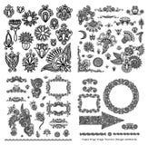 Línea negra colección adornada del diseño floral del arte stock de ilustración