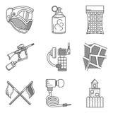 Línea negra colección de los iconos del accesorio de Paintball Imágenes de archivo libres de regalías