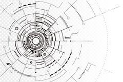Línea negra fondo de la tecnología del extracto de la silueta ilustración del vector