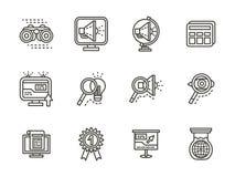 Línea negra iconos de la búsqueda fijados Imagen de archivo libre de regalías