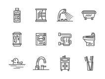 Línea negra iconos del cuarto de baño Fotografía de archivo libre de regalías