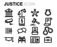 Línea negra iconos del vector de la justicia fijados Fotos de archivo libres de regalías