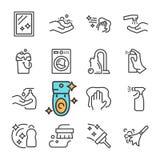 Línea negra iconos del vector de la limpieza fijados Incluye los iconos tales como la superficie limpia, polvo, espuma, detergent Imagen de archivo