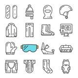 Línea negra iconos del vector de la snowboard fijados Incluye los iconos tales como la snowboard, armadura, cámara web, pasamonta Fotos de archivo