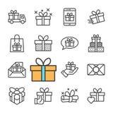 Línea negra iconos del vector de los regalos fijados Fotografía de archivo libre de regalías