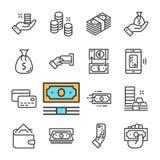 Línea negra iconos del vector del dinero fijados Cartera, atmósfera, mano con el dinero, monedas, tarjeta de banco Imágenes de archivo libres de regalías