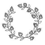 Línea negra marco floral del vector Fotos de archivo