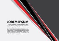 Línea negra roja abstracta del triángulo en el espacio en blanco gris para el vector creativo futurista moderno del fondo del dis ilustración del vector