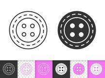 Línea negra simple de costura icono del botón del vector stock de ilustración
