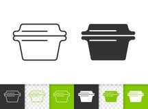 Línea negra simple icono de la cazuela de cristal del vector libre illustration