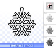 Línea negra simple icono de la decoración del copo de nieve del vector ilustración del vector