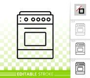 Línea negra simple icono de la estufa del vector ilustración del vector