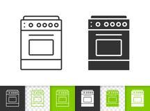 Línea negra simple icono de la estufa del vector stock de ilustración