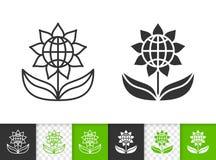 Línea negra simple icono de la flor del vector stock de ilustración